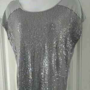 Women's Plus Sequence Gray Top